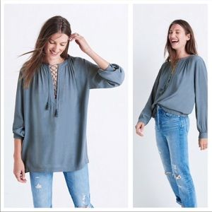 Madewell L/S Peasant Blouse w/ Lace Front •Blue XS